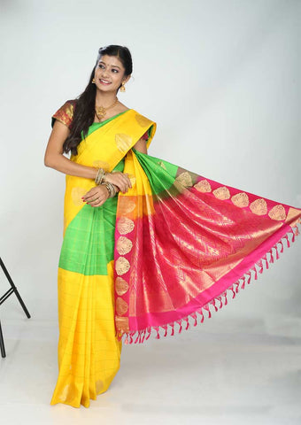 Yellow With Green Nakshatra Pure Silk Saree - FG5756