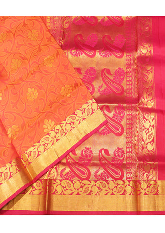 Orange  With Pink Light weight Kanchipuram Silk Saree