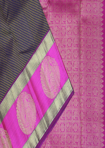 Navy Blue With Pink Bridal Pure Silk Saree - FF16278