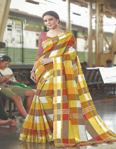 Yellow With Red Checked Synthetic Cotton Saree - FH285