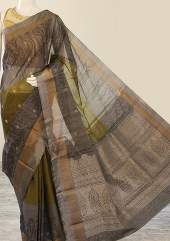 Light Black Pure Silk cotton Saree