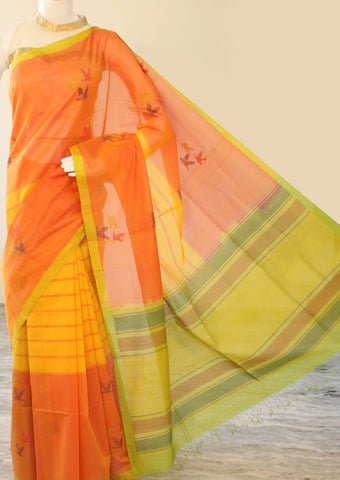 Orange with Yellow Pure Silk cotton Saree