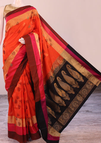Red with Pink Soft Silk Saree