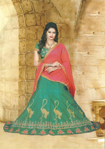 Green With Pink  Lehenga - FC6063