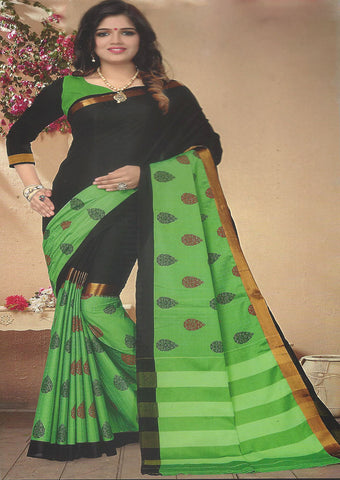 Black Color With green Aara cotton Saree