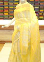 Mango Yellow Color Linen Cotton Saree