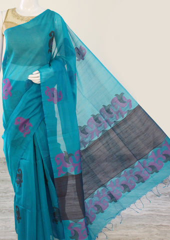 Light Blue Pure Silk cotton Saree