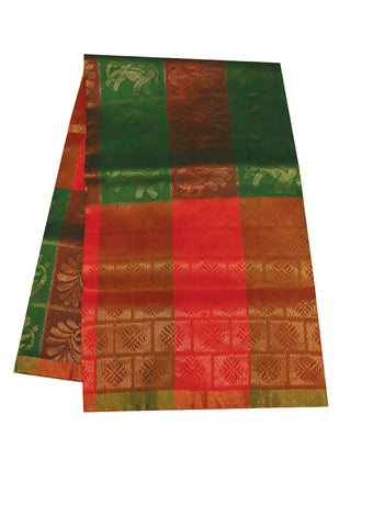 Green with Red Soft Silk Saree