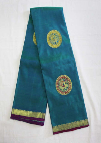 Peacock Blue With Pink Nakshatra Pure Silk Saree- EV1908