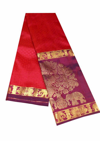 Red and Lavender Pure Silk Saree
