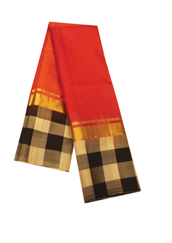 Red With Black Mayuri Soft Silk Saree