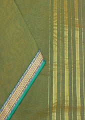 Light Mustard Green Pure Cotton 9.5 yards Saree-FJ26605