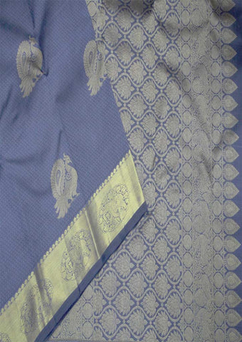 Gray With Gold Bridal Pure Silk Saree