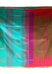 Green With Pink Mayuri Soft Silk Saree