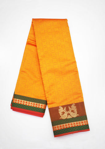 Yellow with Green Pure Silk cotton Saree-FF22540