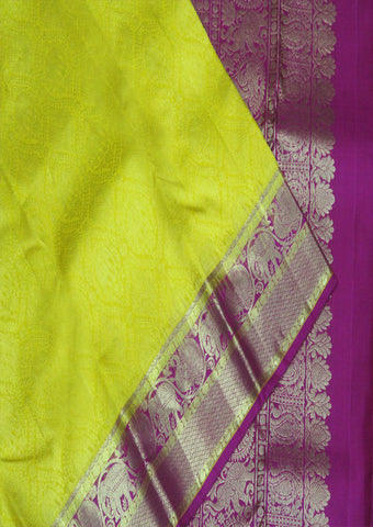 Yellow With Pink Bridal Pure Silk Saree - FF21104