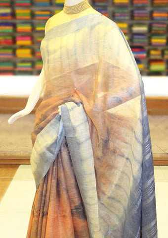 Gray Color Linen Cotton Saree