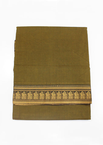 Mustard Green Pure Cotton 9.5 yards Saree-FJ26611