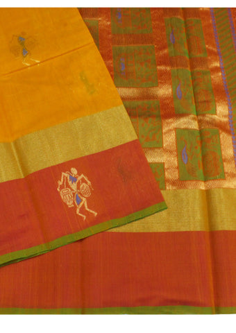 Yellow Pure Silk cotton Saree
