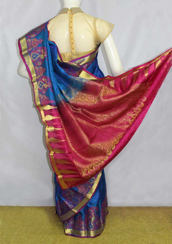 Dark Blue with Pink Kanchipuram Silk Saree-EP3979