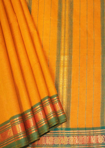 Mango Yellow With Green  Pure Cotton 9.5 yards Saree - FN49265