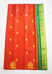 Orange With Green Nakshatra Pure Silk Saree-FI10744