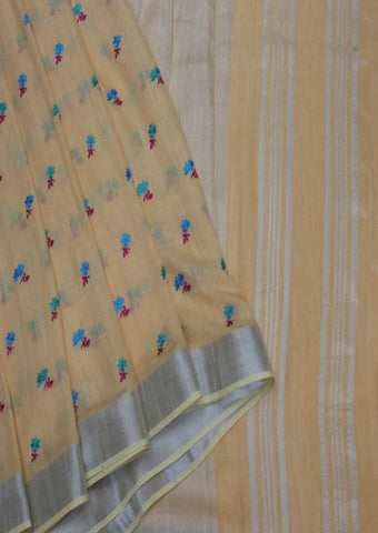 Light Orange Linen Cotton Saree