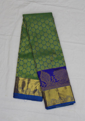 Green With Skyblue Pure Silk Saree - FF20888