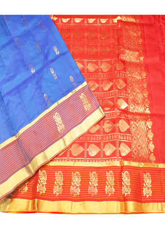 Blue With Red Light weight Kanchipuram Silk Saree