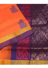 Orange Uppada Silk cotton Saree