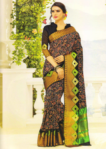 Black Gadwal cotton Saree - EY3086