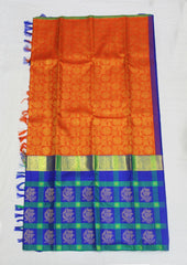 Orange with Blue  Bridal Pure Silk Saree - FF21104
