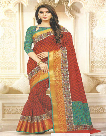 Red With Green Cotton Saree - EZ16855