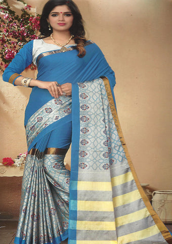 Ramar Blue Color Aara cotton Saree