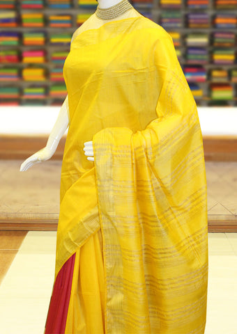 Yellow With Mejanta Color Linen Cotton Saree