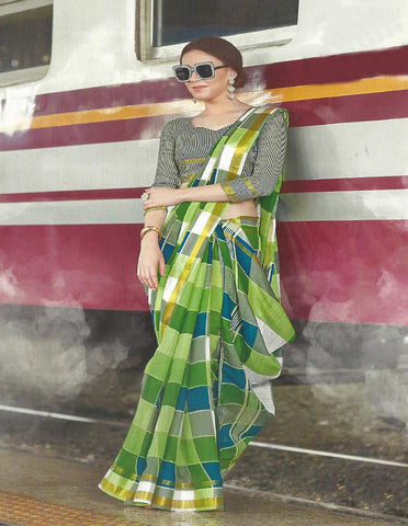 Light Green Checked Synthetic Cotton Saree - FH285