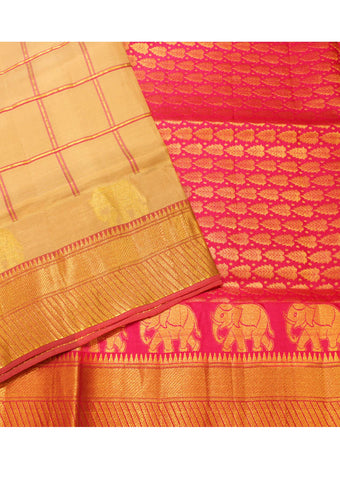 Sandal with pink Light weight Kanchipuram Silk Saree