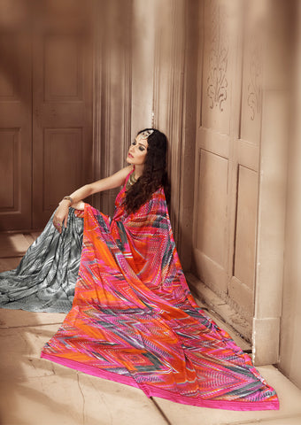 Orange gray Crepe Silk Saree