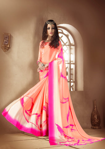 Orange pink Crepe Silk Saree
