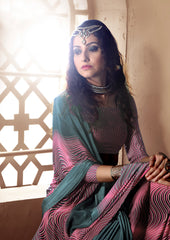 Gray amarnath purple Crepe Silk Saree