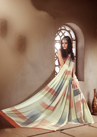 Pista green orange Crepe Silk Saree