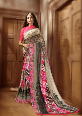 Brown pink Crepe Silk Saree