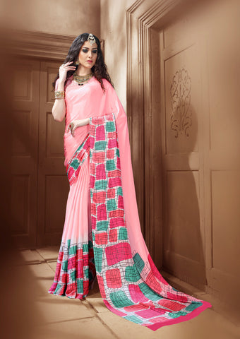 Flamingo Pink Crepe Silk Saree
