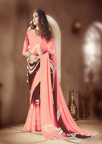 Light orange brown Crepe Silk Saree