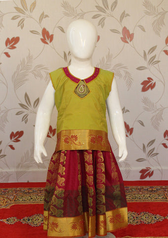 Green with Red Art Silk Pavadai