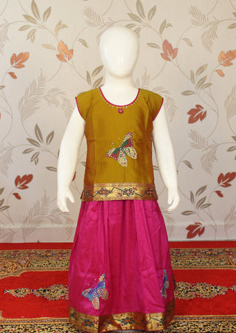 Mustard Green with Pink Art Silk Pavadai