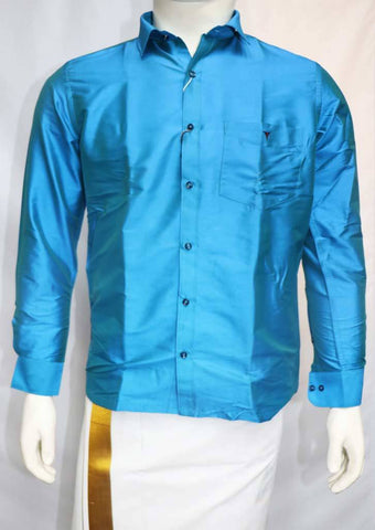 Anandha Blue Full Hand Silk Cotton Shirt - FT5865 ARRS Silks