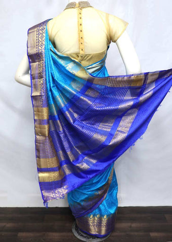 Anandha Blue with Blue Semi Raw Silk Saree - 001 ARRS Silks