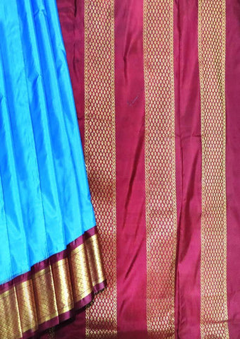 Anandha Blue with Maroon 9.5 Yards Silk Saree - FT20313 ARRS Silks