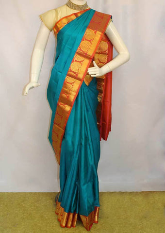 Anandha Blue with orange Kanchipuram Silk Saree - FM92020 ARRS Silks